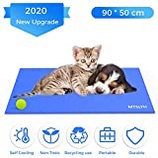 , Blue M: Pejoye Dog Self Cooling Mat 90 * 50cm Gel Pad Multi-Function Cool Pad Non-Toxic Activated Gel Cooling Ice Pad Pillow Cooling Mat Make Your Pets Stay Cool in This Summer 65cm*50cm