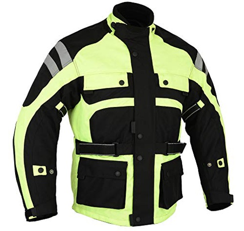 Bikers Gear Australia New Waterproof Hi Viz Infinity All Season Comfort  Jacket Removable Thermal Liner Vented With Ce1621-1 Armour fa99266d8