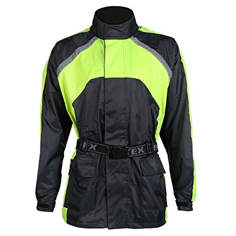 Black hi-vis Waterproof Elasticated Motorcycle Rain Over Jacket - M-5xl b4cb8c94b